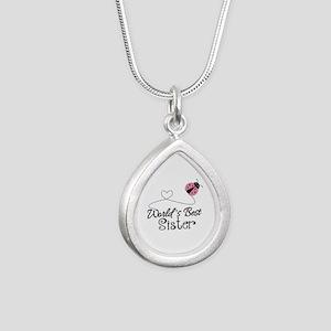 Worlds Best Sister Silver Teardrop Necklace