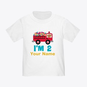 Personalized 2nd Birthday Firetruck T-Shirt