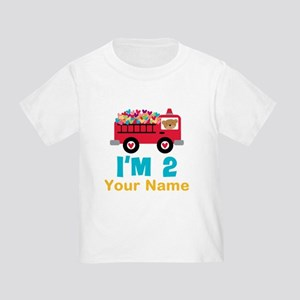 Personalized 2nd Birthday Firetruck T-Shirt