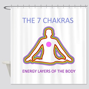 The seven chakras with their respec Shower Curtain