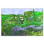Four Saguaros & Wildflowers Large Poster