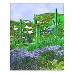 Four Saguaros & Wildflowers Small Poster