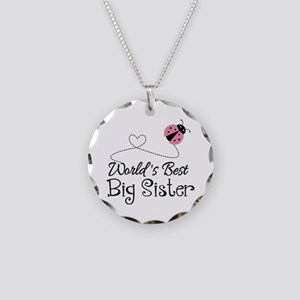Worlds Best Big Sister Necklace Circle Charm