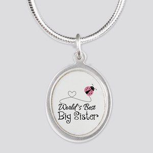 Worlds Best Big Sister Silver Oval Necklace