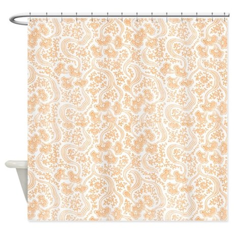 Peach Vintage Floral Shower Curtain by cheriverymery