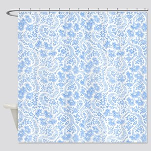 Blue Vintage Floral Shower Curtain