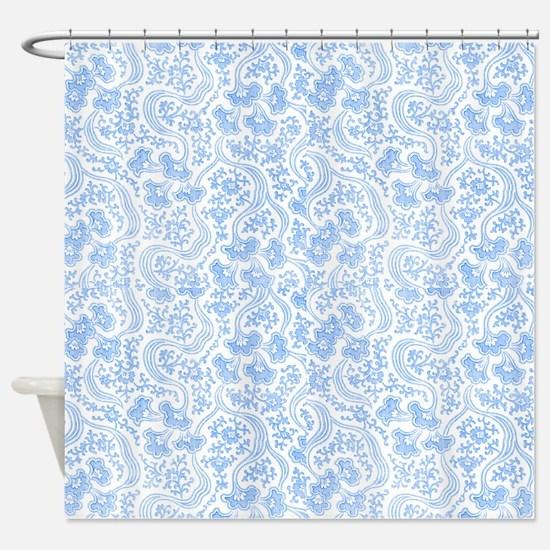 Blue Vintage Floral Shower Curtain