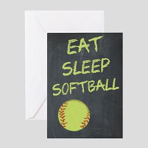 eat, sleep, softball Greeting Card