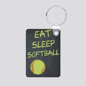 eat, sleep, softball Aluminum Photo Keychain