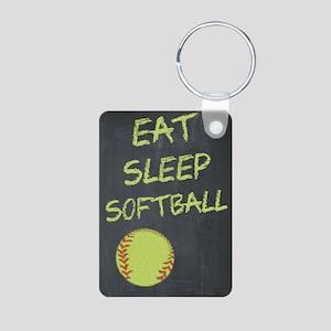 eat, sleep, softball Aluminum Photo Keychain
