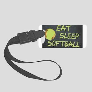 eat, sleep, softball Small Luggage Tag