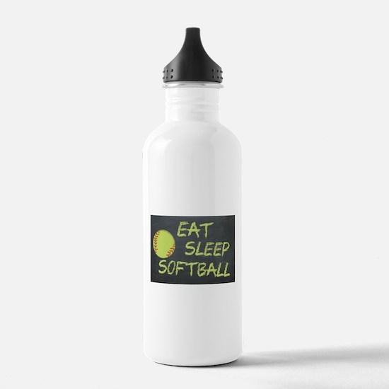eat, sleep, softball Water Bottle