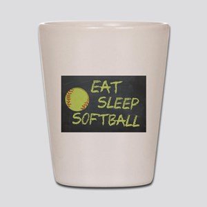 eat, sleep, softball Shot Glass