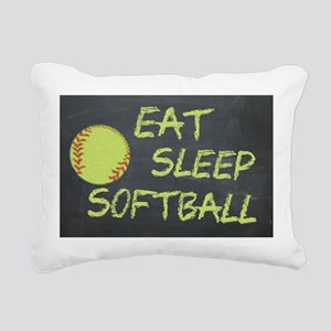 eat, sleep, softball Rectangular Canvas Pillow