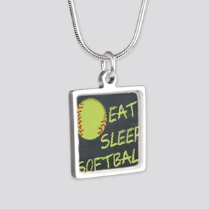 eat, sleep, softball Silver Square Necklace