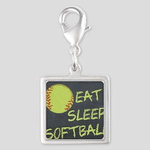 eat, sleep, softball Silver Square Charm