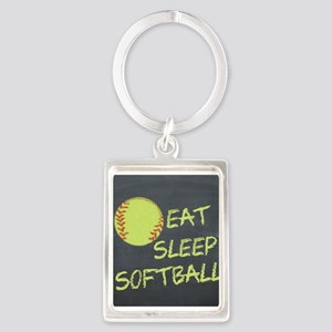 eat, sleep, softball Portrait Keychain