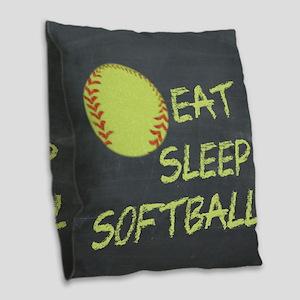 eat, sleep, softball Burlap Throw Pillow