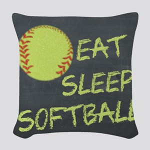 Eat, Sleep, Softball Woven Throw Pillow