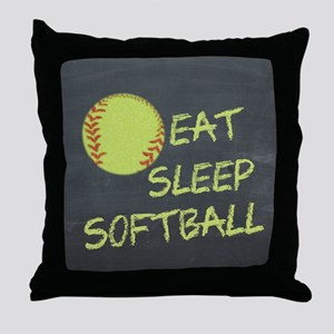 eat, sleep, softball Throw Pillow