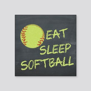 "eat, sleep, softball Square Sticker 3"" x 3"""