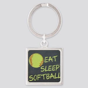 Eat, Sleep, Softball Square Keychain