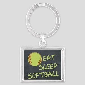 eat, sleep, softball Landscape Keychain