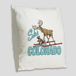 Ski Colorado Burlap Throw Pillow