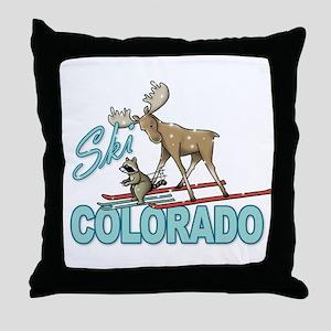 Ski Colorado Throw Pillow
