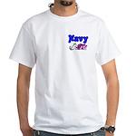 Navy Wife White T-Shirt