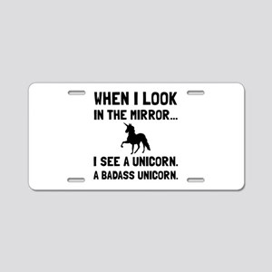 Badass Unicorn Aluminum License Plate