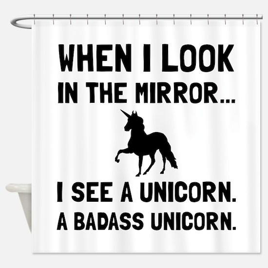 Badass Unicorn Shower Curtain