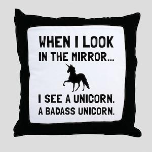 Badass Unicorn Throw Pillow