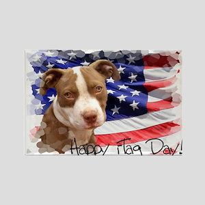 Happy Flag Day Pitbull dog Magnets