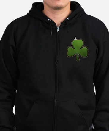 Cute Irish Shamrock Zip Hoodie (dark)
