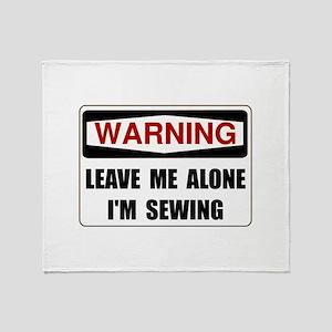 Warning Sewing Throw Blanket