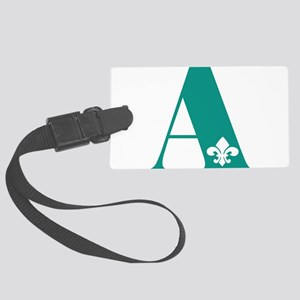 A Initial with fleur de lis Luggage Tag