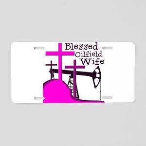 Bless Oilfield Wife- Three Crosses Aluminum Licens