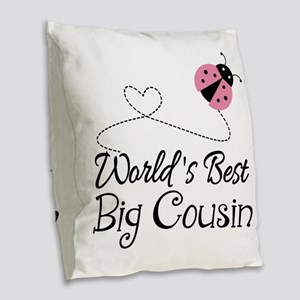 World's Best Big Cousin Burlap Throw Pillow