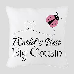 World's Best Big Cousin Woven Throw Pillow