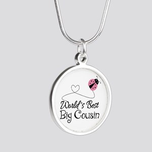 World's Best Big Cousin Silver Round Necklace