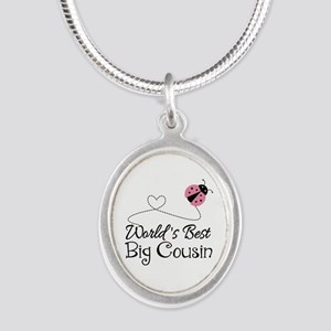 World's Best Big Cousin Silver Oval Necklace