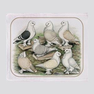 Classic Frill Pigeons Satinettes Throw Blanket