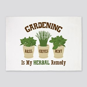 GARDENING IS MY HERBAL Remedy 5'x7'Area Rug