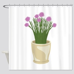 Potted Chive Plant Shower Curtain