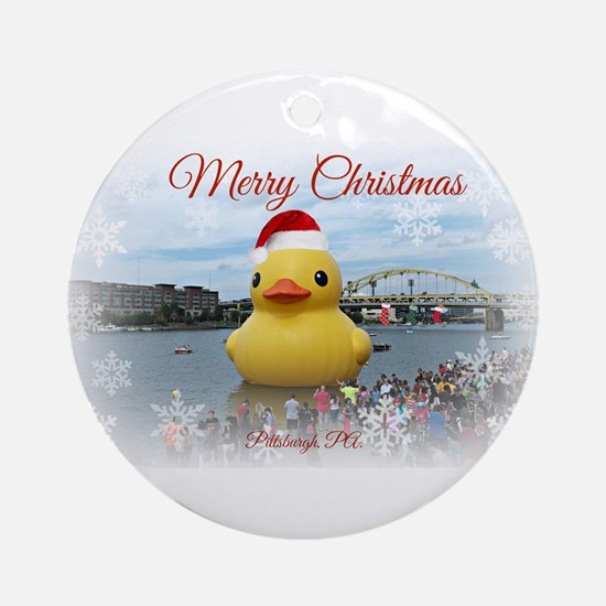 Christmas Duck Ornament (Round)
