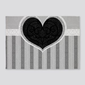 Heart on Stripes 5'x7'Area Rug