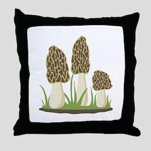 Morel Mushrooms Throw Pillow