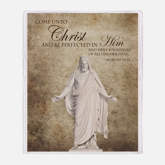 Come Unto Christ with Brown Backgrou Throw Blanket