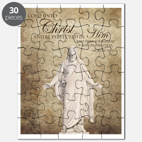Come Unto Christ with Brown Background Puzzle
